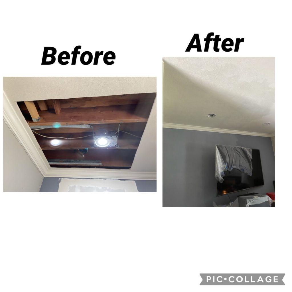 Santa Drywall Repair Before and After Service